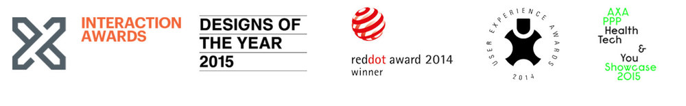 Red Dot 2014 Winner,  Designs of the Year 2015 Nominee,  AXA PPP Health Tech & You Showcase 2015,  User Experience Award Honourable Mention 2014,  and IxDA Award Shortlisted 2014