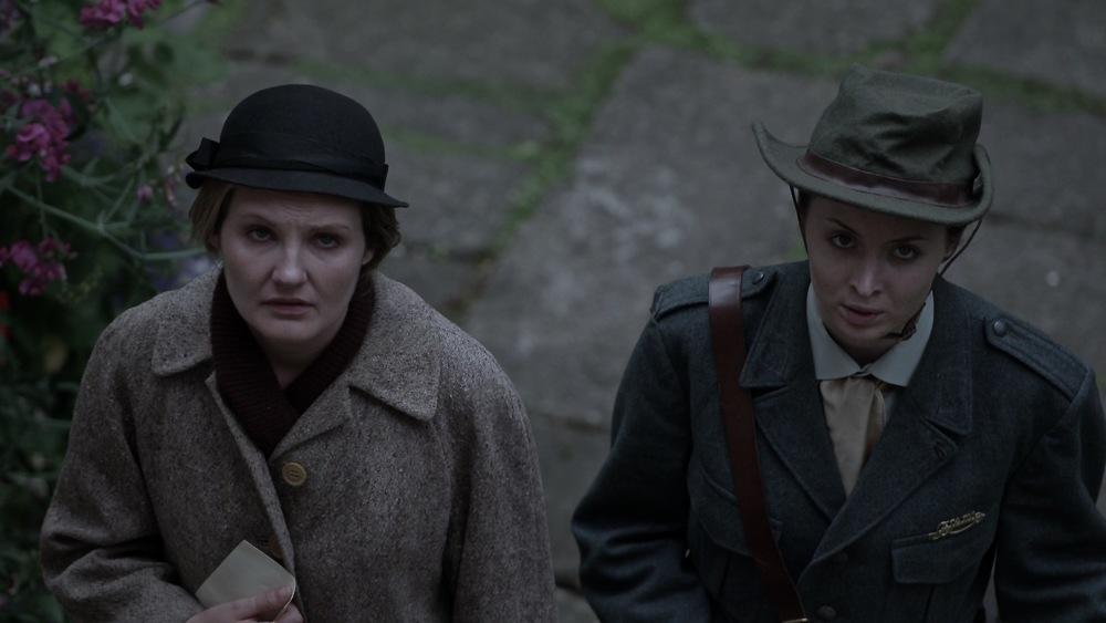 Cumman Na mBan members Bridget Grace (Gina Costigan) and May Cullen (Megan Cassidy) deliver urgent dispatches to 25 Northumberland Road