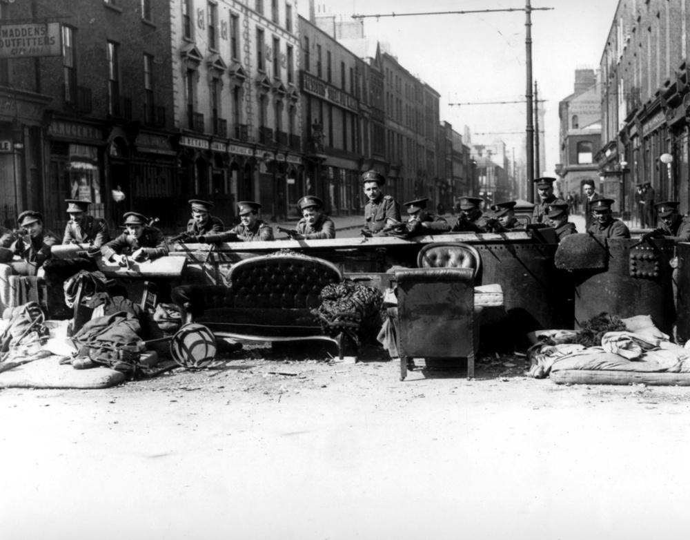 British soldier man a barricade on Talbot Street