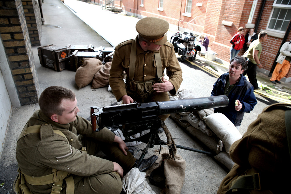 Director Keith Farrell discusses a scene with 'British Troops' at Cathal Brugha Barracks.