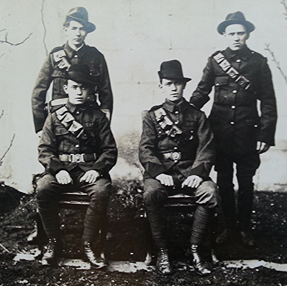 The Survivors of Clanwilliam House : Brothers Jim and Tom Walsh (Seated L - R), James Doyle and Willie Ronan (Standing L - R). Thanks to Fiona Kavanagh, Tom's grand-daughter, for the photo.