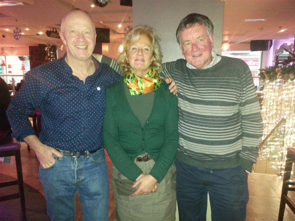 L-R: Joe Murray (grandson of Paddy Rankin), Carol Rankin (granddaughter of     Paddy Rankin) & Tim Lyne (married to Paddy Rankin's granddaughter Margaret).