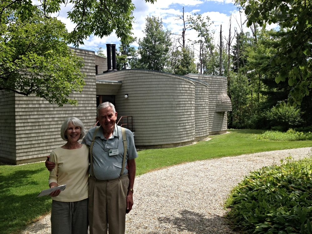 The Folly at Field Farm, part of the  Trustees of Reservations  properties, is the other pleasurable site to visit. A sculptural piece, a guest house, by the architect Ulrich Franzen, built in 1965 for $100,000, it is complex in form and space while possessing functional simplicity. The interior daylighting and artificial lighting is striking. The daylighting in particular is masterful. Franzen was a master architect and he clearly enjoyed the development and execution of this project. Our tour guide, Bob, was a fabulously, enthusiastic, knowledgeable guide and Jennifer, seen here with Bob, and I thoroughly enjoyed our visit. Below is a link to an article in the Berkshire Eagle with more information and photographs.     http://www.berkshiresweek.com/072204/default.asp?id=article04