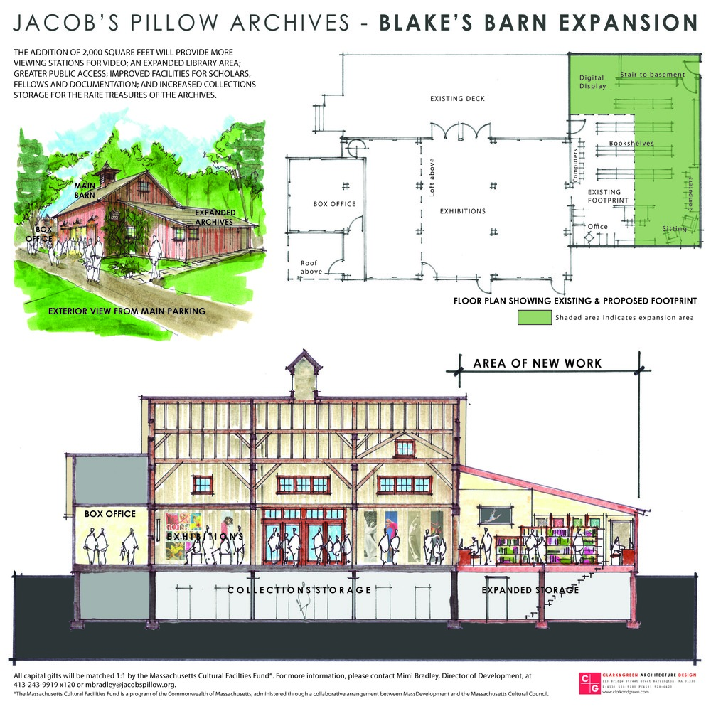 Jacob's Pillow continues to improve its cultural facilities. Now an expansion of Blake's Barn will provide additional viewing stations for archived media, expanded library with greater public access as well as support for scholarly pursuits. Clark & Green is currently working on construction drawings in preparation for construction later this year. Other work at Jacob's Pillow produced by Clark & Green include dressing rooms at the Doris Duke Theatre and the Inside / Out Performances Stage.