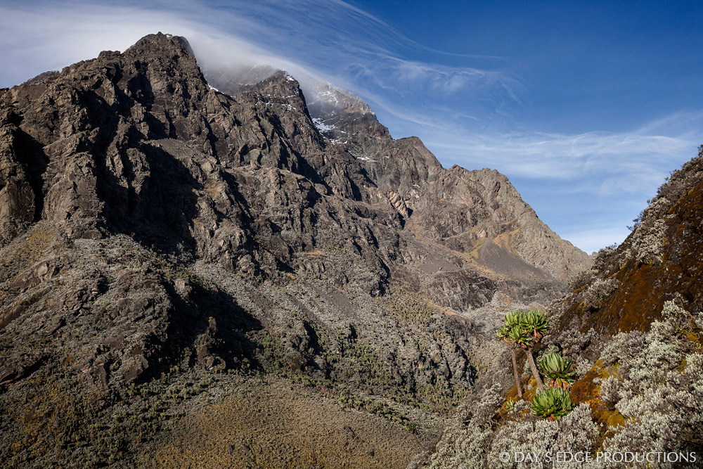 The northeastern flank of Mount Stanley in Rwenzori Mountains National Park, Uganda.