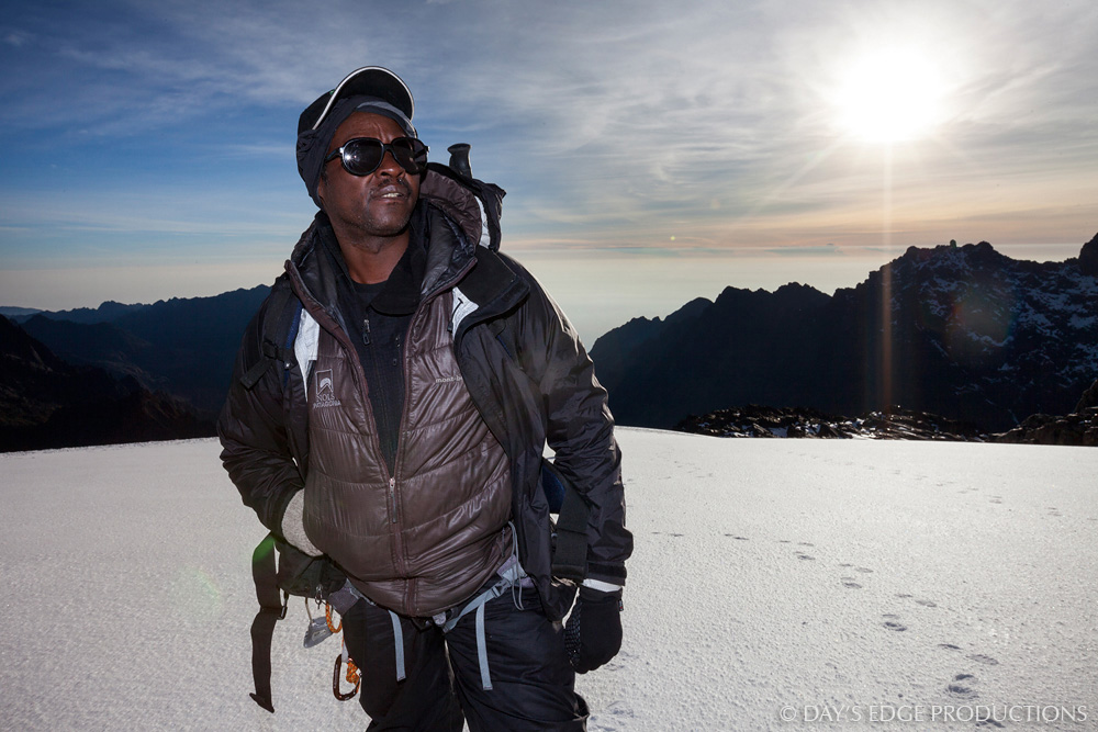 "Kenyan alpinist and climbing guide James ""KG"" Kagambi in Rwenzori Mountains National Park, Uganda."