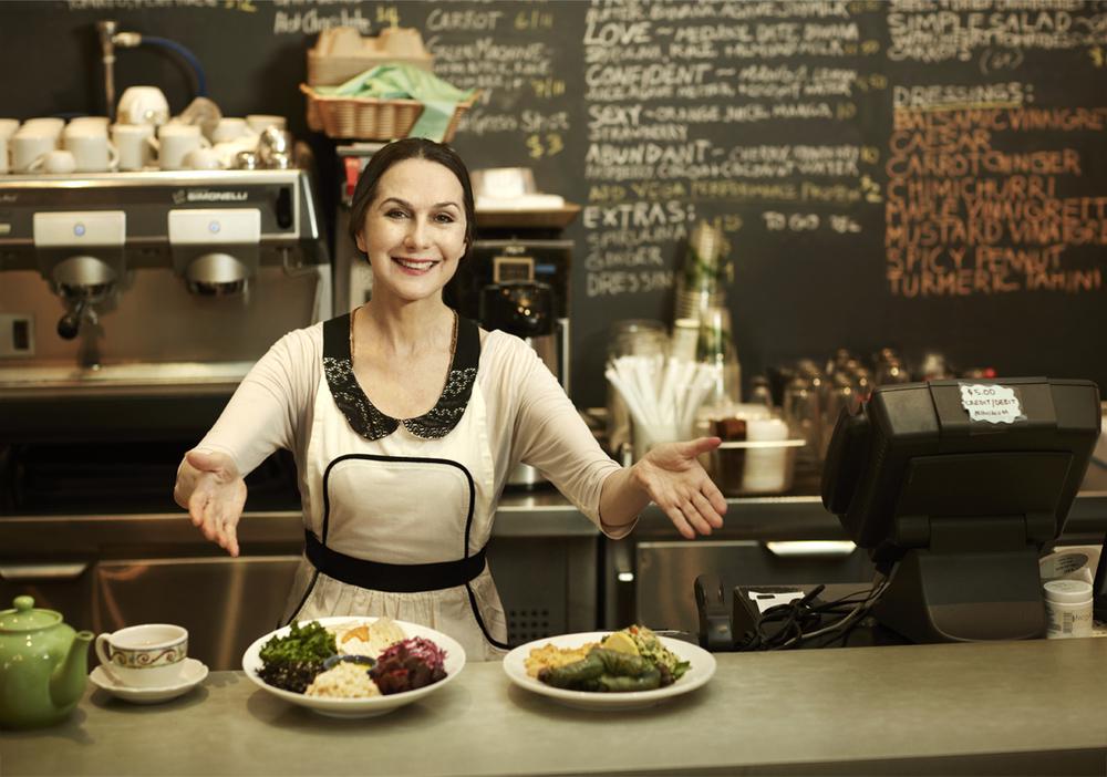Sharon behind the counter at  Jivamuktea Café .Photo by Guzman.
