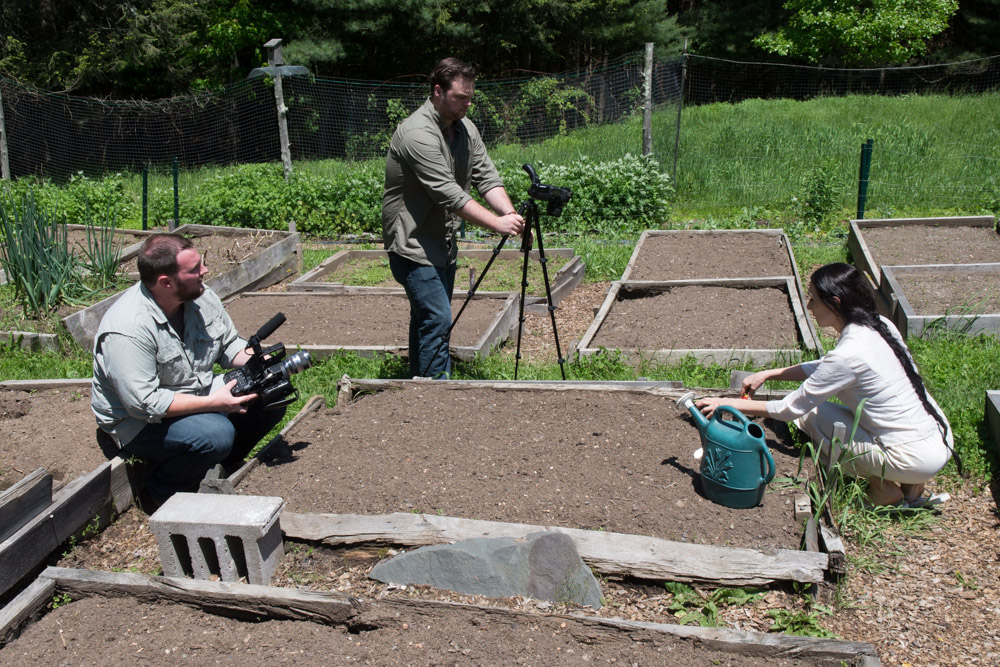 Sharon in the Woodstock vegetable garden for the video shoot for  Simple Recipes for Joy  PR trailer #1. Photo by Derek Pashupa Goodwin.