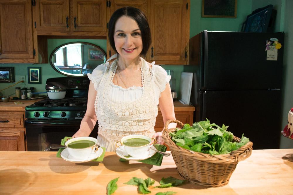 Sharon making Wild Nettle Soup in the Woodstock kitchen #1. Photo by Derek Pashupa Goodwin.