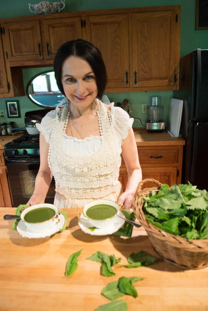 Sharon making Wild Nettle Soup in the Woodstock kitchen #2. Photo by Derek Pashupa Goodwin.