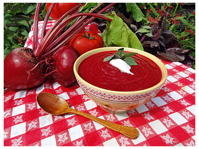 Very Red Tomato & Beet Soup.  View Recipe Here ! Photo by Jesica Sjoo