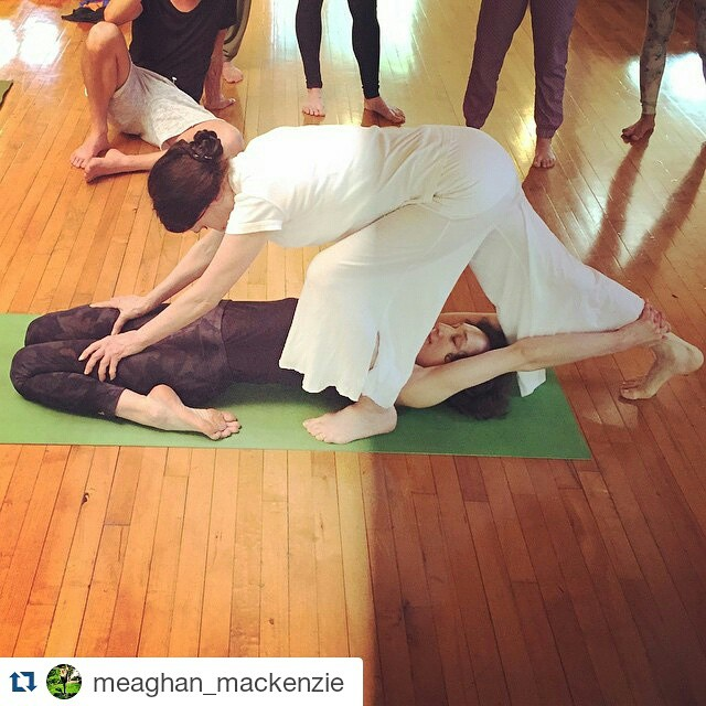 #Repost @meaghan_mackenzie ・・・ Learning from the best 🙏🏼 #sharongannon #jivamuktiyoga #JivaTTOmega @sharongannon @omegainstitute #jivamukti #yoga