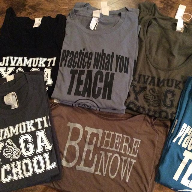 #newshirts are in at the #jivamuktiboutique #JivamuktiYogaSchool #PracticeWhatYouTeach #BeHereNow #RespectYorselfandOthers