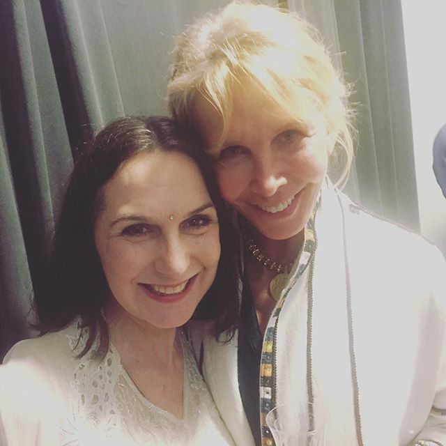 "With Trudie Styler at the NYC premiere of ""What is Real?"" Jivamukti documentary. #bestfriends #yogaeverywhere #satsang"