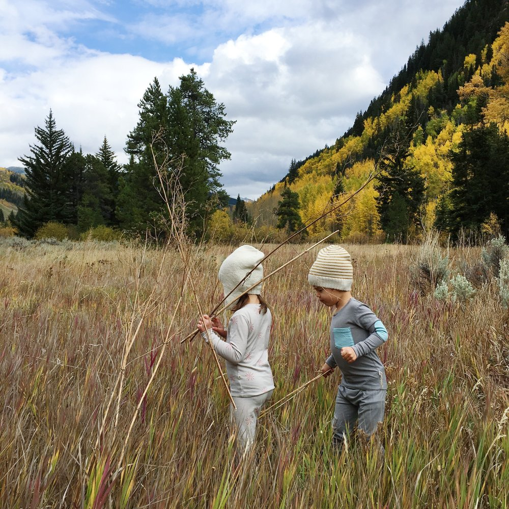 Our kids, decked out in their  thermal long johns , ready to explore this fall!