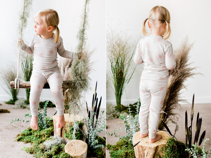 Our 100% Merino Wool Thermal Long Johns in Terra Cotta Windmill Print. Photo by  Sara Hasstedt .