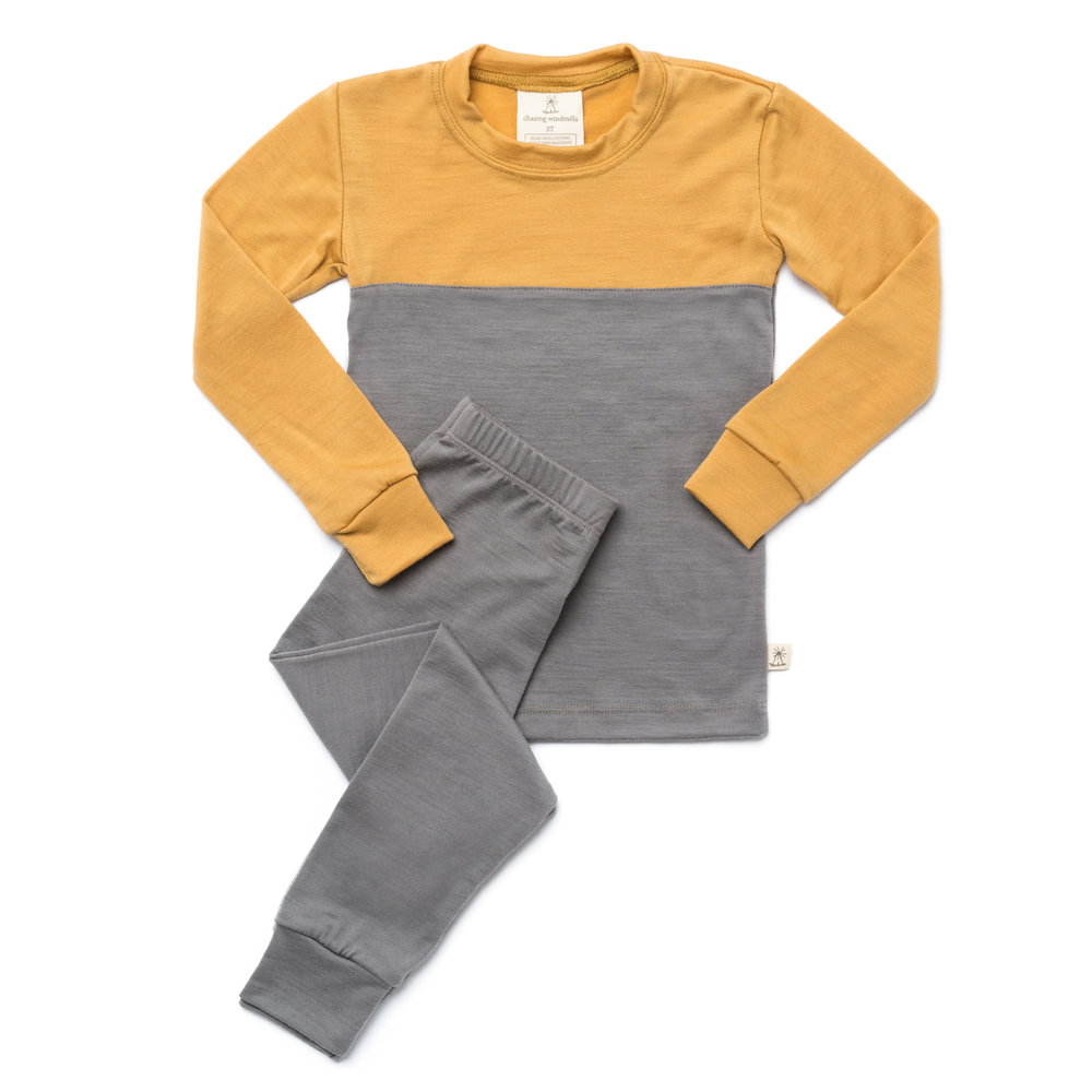 thermal long johns mustard color block