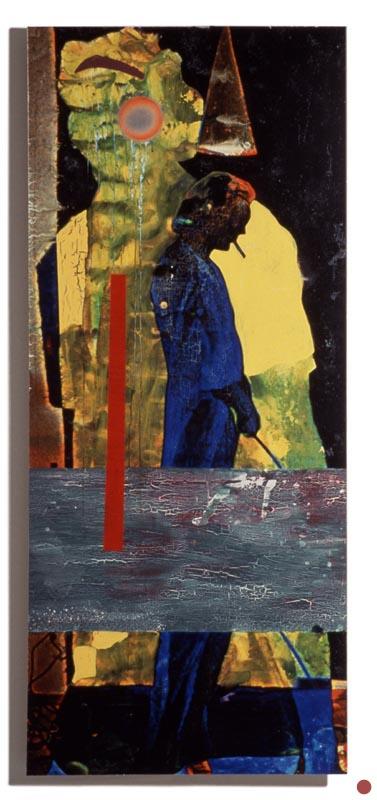 """water, oil &enamel on inkjet on board, 32""""x72"""", 1997 (sold)"""