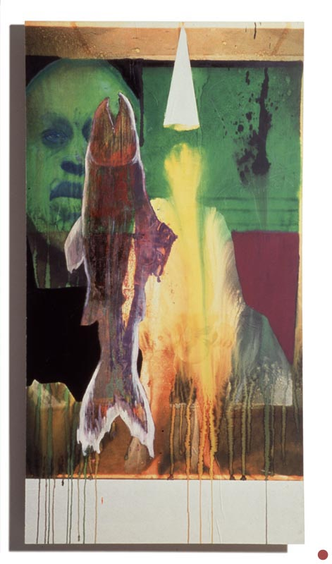 """water & acrylic on inkjet on board, 32""""x62"""", 1997 (sold)"""