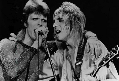 David Bowie & Mick Ronson performing circa Spiders from Mars era