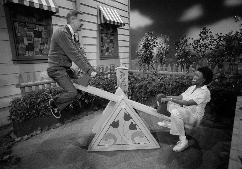 Mr. Rogers on the seesaw