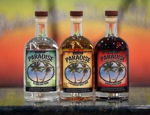 From left to right: Island Bay, Caribbean Mist, and White Sand Rums from Paradise Distilling Company