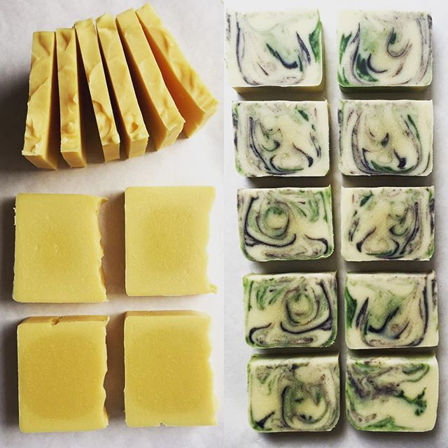 "Peek Into Our Soap Studio: Today we are cutting bars of our ""YOLO"" (lemongrass), and our ""Living The Dream"" (lavender + mint) soaps. #natural #vegansoap #lavender #lemongrass #soap #allnatural #handmade #begoodtoyourbody"