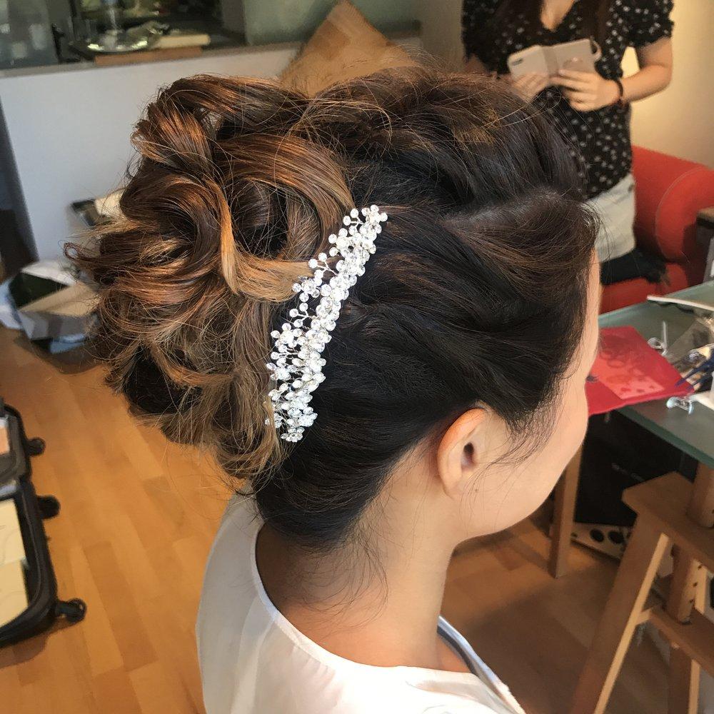 Modern & Stylish Bridal updo for Shoko (Asian hair)