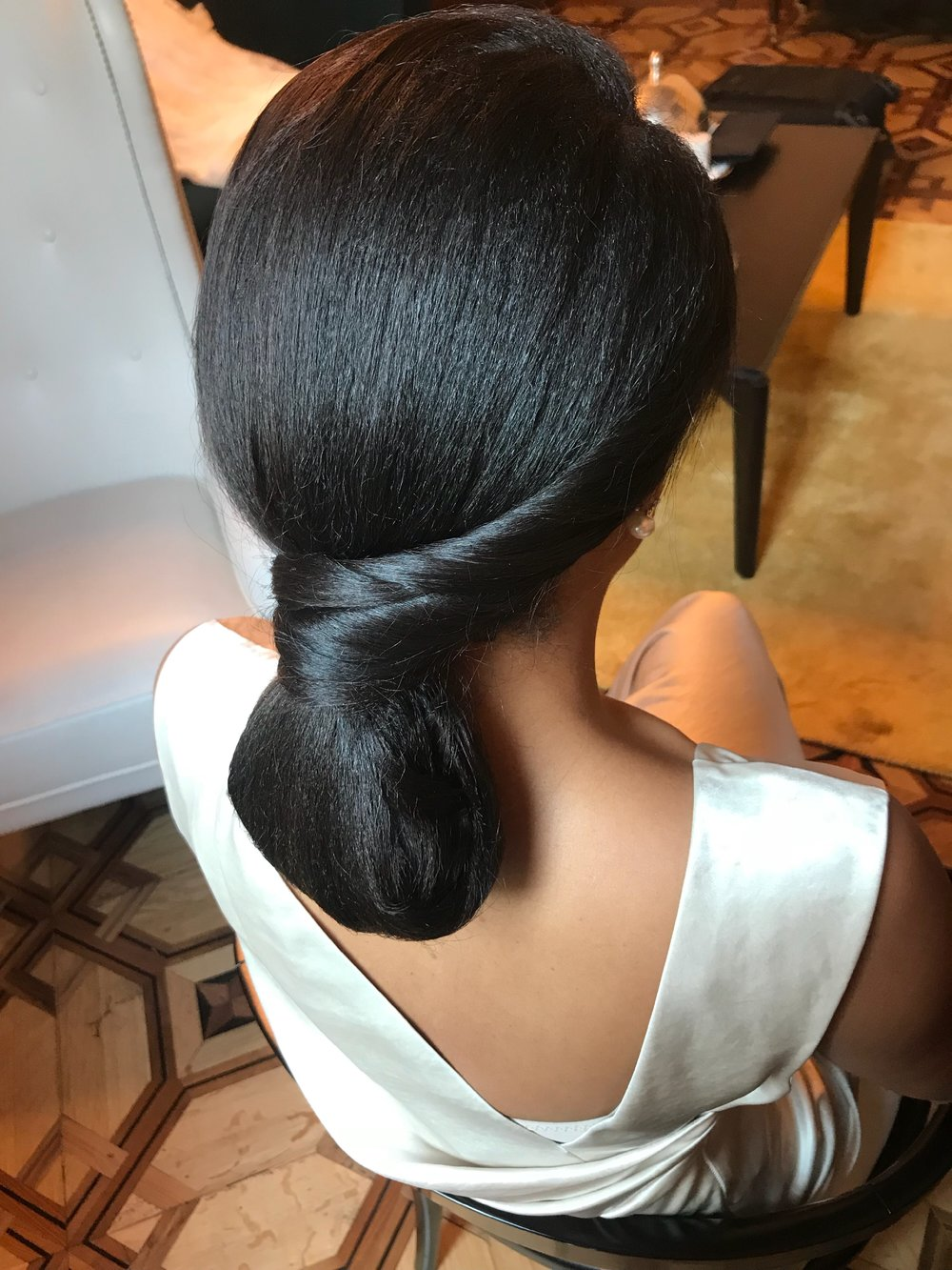 Sleek Bridal Low-do on Afro Hair Texture