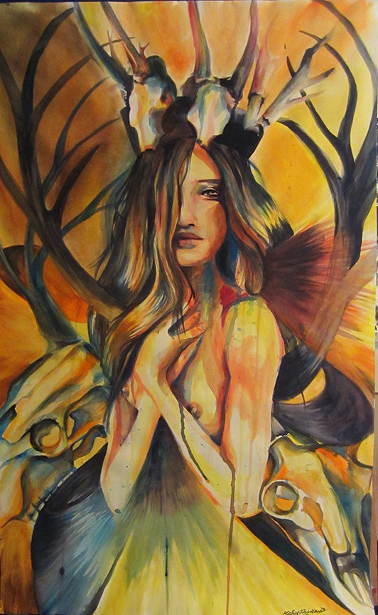 """Huntress"" watercolor, 22x35 2013 - SOLD"