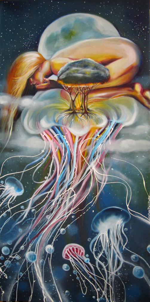 """Jellyfish Island"" oil on canvas, 24x48 2012 - SOLD"