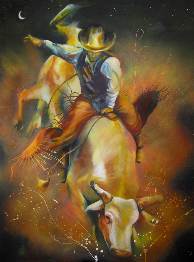 """Lone Peak Bull Rider"" oil and acrylic, 36x48 2012 - SOLD"