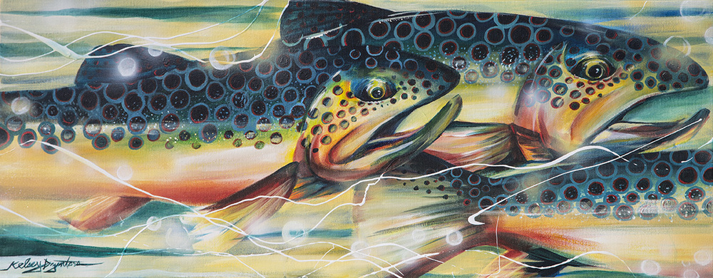 """Hurry up we're late!"" or ""Brown Trout"" acrylic on canvas, 40x16, 2014 - SOLD"
