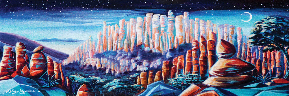 """Wonderland of Rocks"" acrylic, 36x12 2015 - Donated to Chiricahua National Monument"