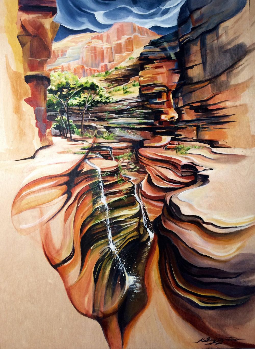 Into the Narrows, Deer Creek Falls, acrylic on wood, 18x24