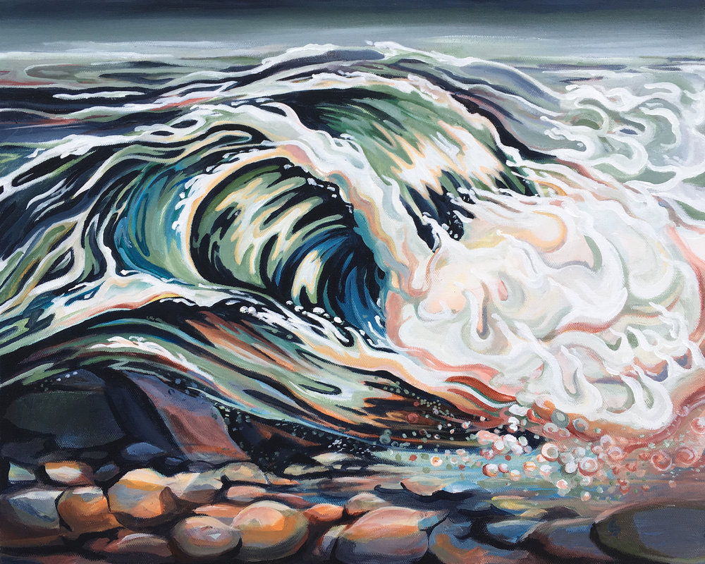 Wave Brains, acrylic, 20x16 2017 - $500