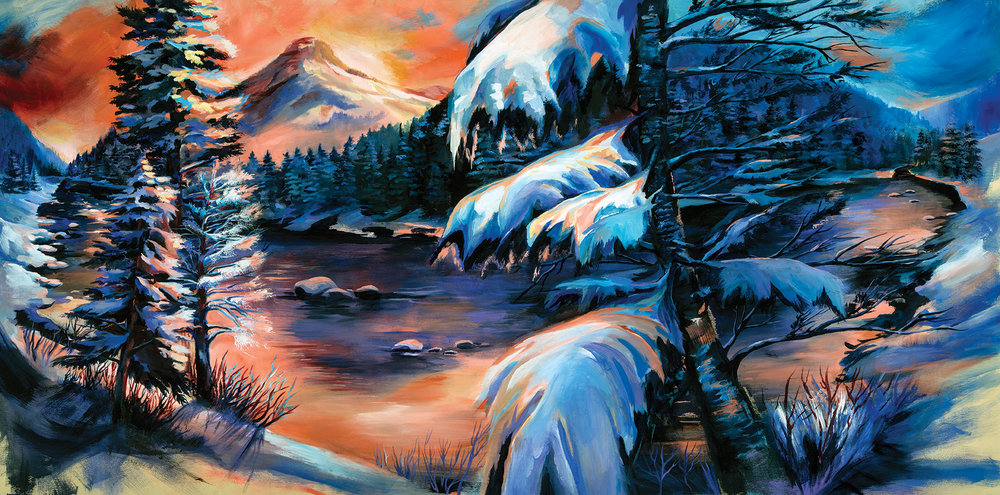 The Commute (Storm Castle over the Gallatin River) acrylic on wood panel, 60x24 2018