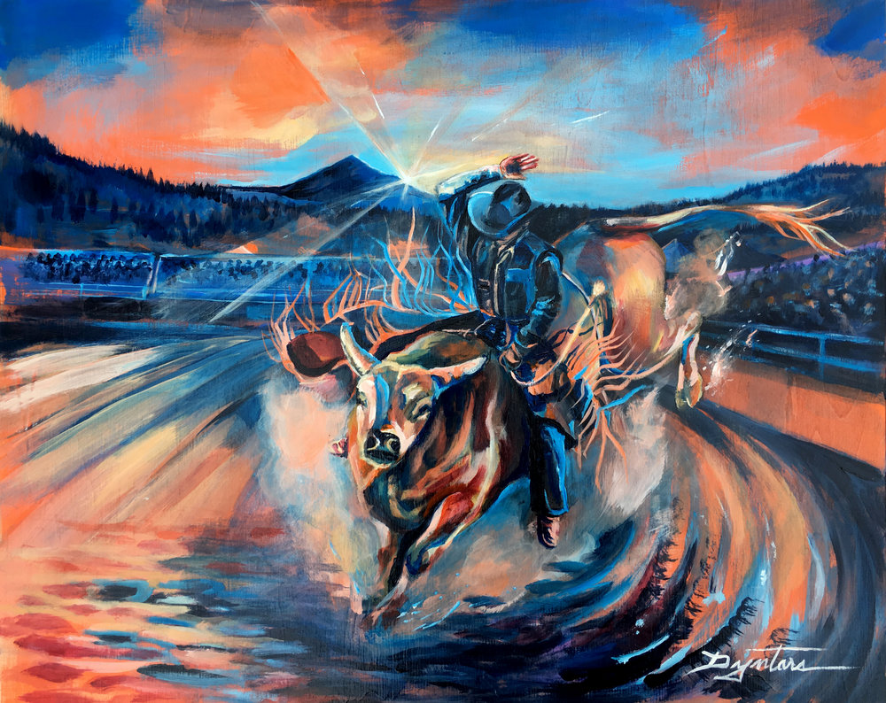 Big Sky PBR, acrylic on wood panel, 20x16 *COMMISSION/SOLD*