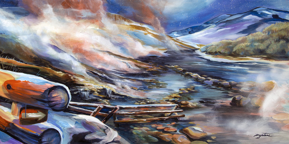 Boiling River, acrylic on canvas, 48x24