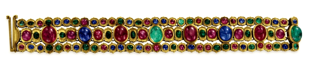 A Ruby, Sapphire, Emerald and Gold Bracelet, By Tiffany & Co..jpg
