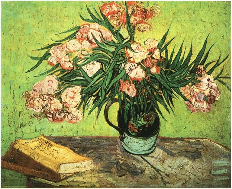 "A Van Gogh that hung at Belllosguardo in the early days, ""Still Life: Vase with Oleanders and Books."""