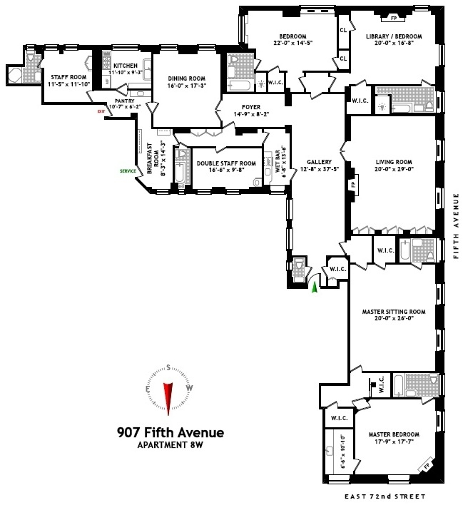 Floor plans, 907 Fifth Avenue