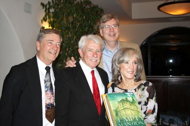"Here's a photo from one of our ""Empty Mansions"" events in May 2014 in Montecito, California. The three speakers are shown here, along with one of our hosts from the Montecito Historical Archives, which benefitted from our gala evening at the Montecito Country Club. From left to right are Dana Newquist, one of the directors of the archives; co-authors Paul Clark Newell, Jr., and Bill Dedman, and Barbara Hoelscher Doran, who grew up at Bellosguardo as a daughter of the estate manager and shared with the overflow audience her memories of Huguette Clark and her mother, Anna E. Clark."