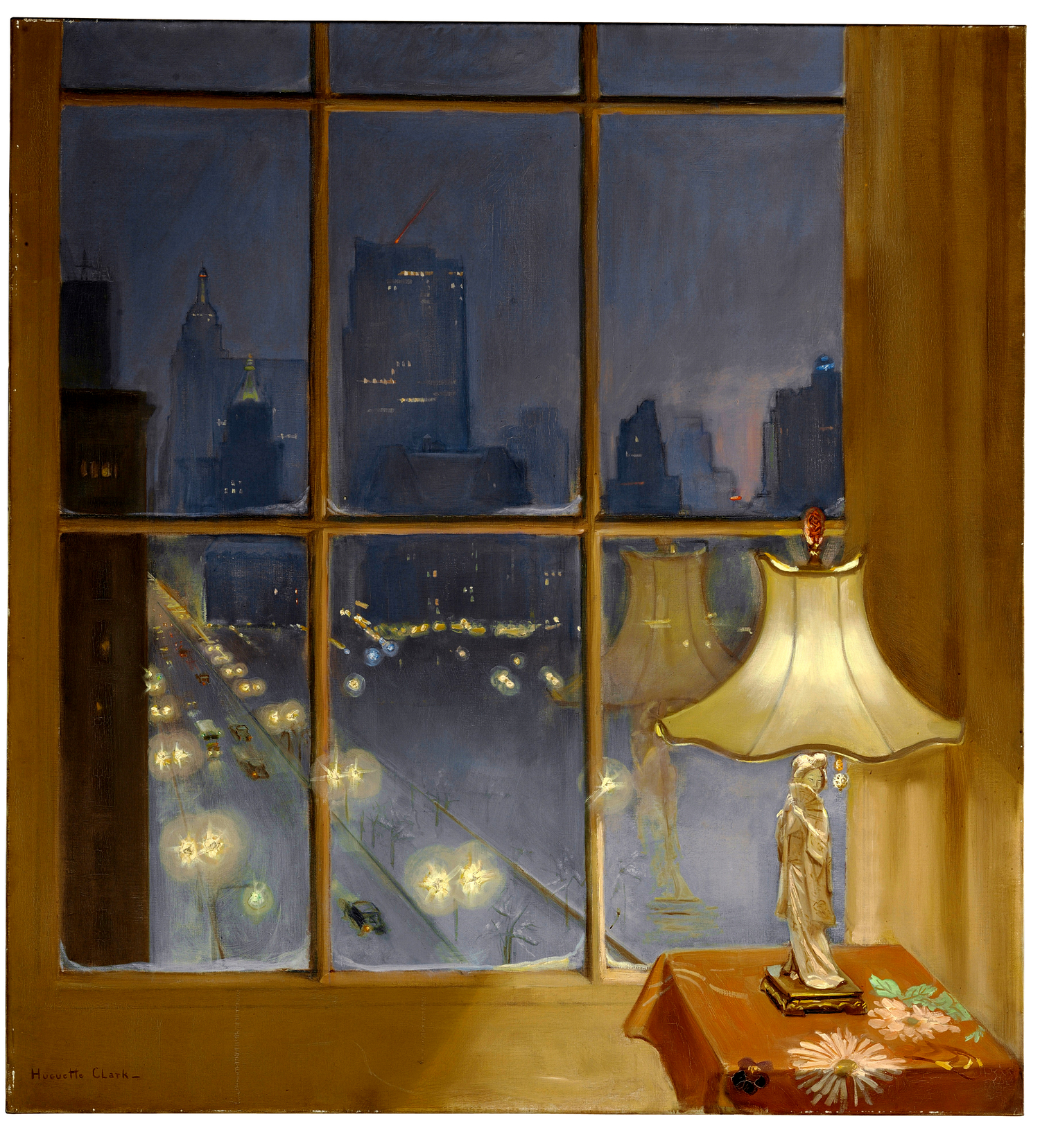 Window at night from inside - Caption This Painting By Huguette Captures Her View Down Fifth Avenue In The Snow