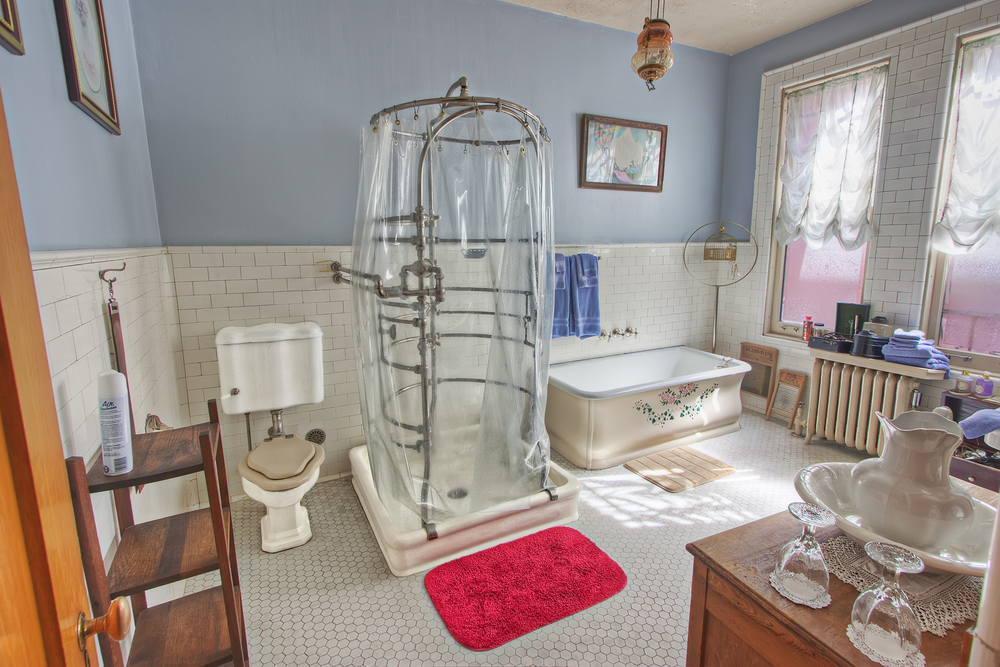 Shower in bathroom, Copper King Mansion, the W.A. Clark home in Butte, Montana. c. Daniel Hagerman. Prints for sale at http://fineartamerica.com/art/all/copper+king+mansion/all.
