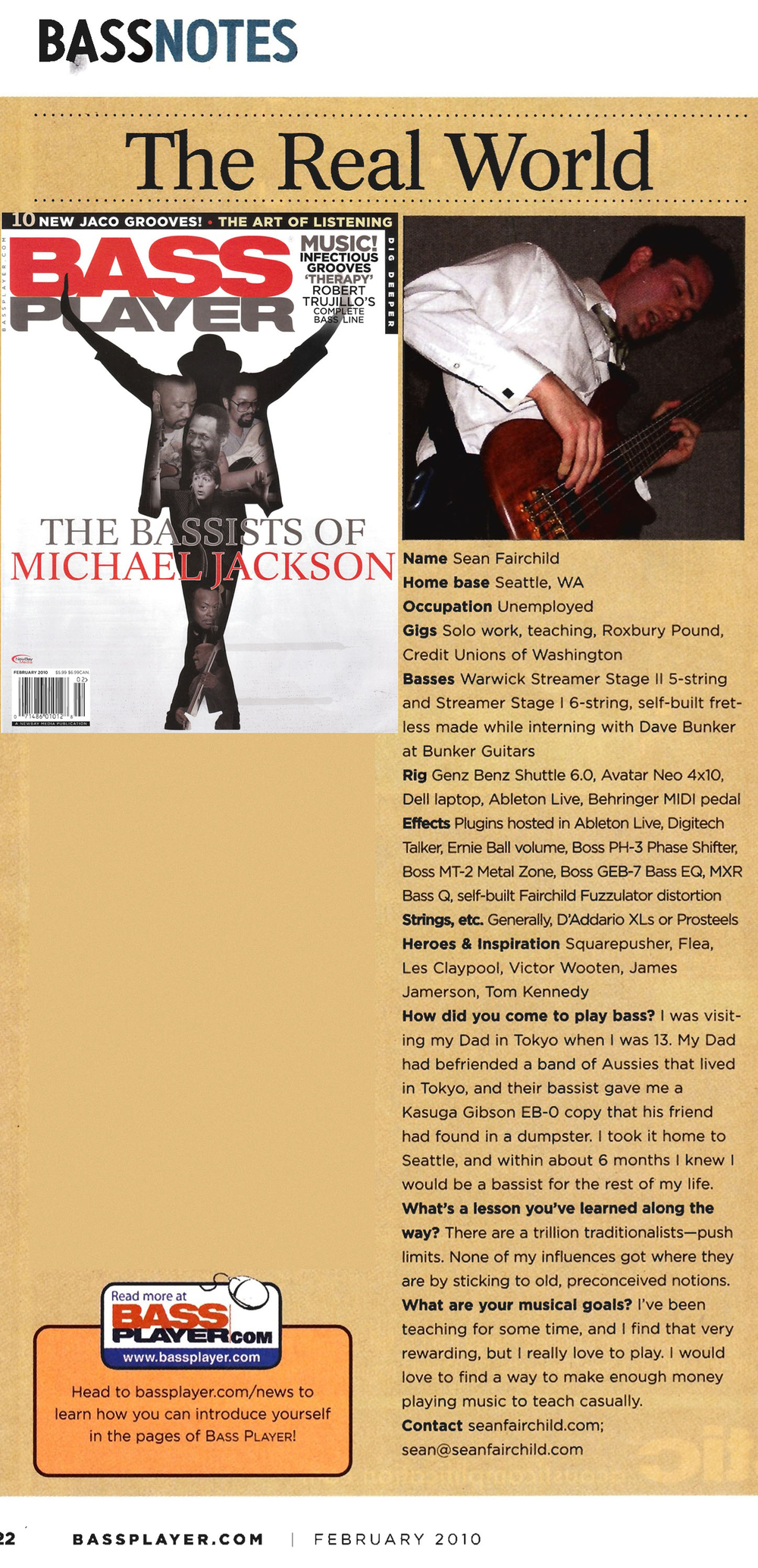 Bass Player Magazine Reader Spotlight feature