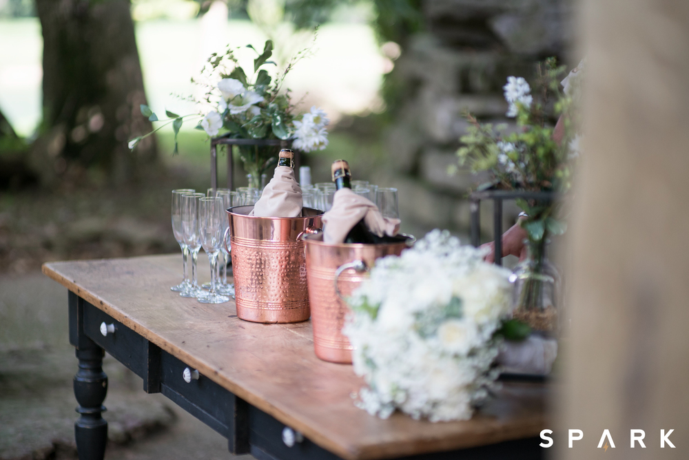 Pictured Above : Beautiful floral arrangements scattered the quaint venue while pops of copper accented the champagne station.