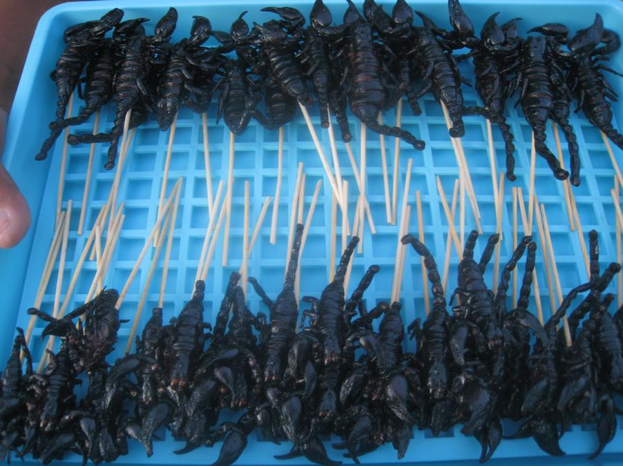 Škorpioni na špejli jsou typickým artiklem Kao San Road. Thajci škorpiony NEJÍ. Kupují si je pouze podnapilí turisté a majoritu příjmu prodejců tvoří 20 THB poplatek za fotografii, nikoli prodané zboží.  Courtesy of the image:http://mmmgoodfood.wordpress.com/