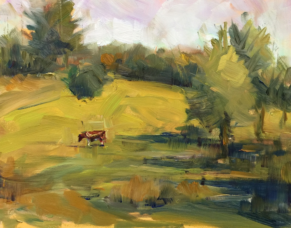 Lone Cow  oil on board, 8x10 plein air. Available