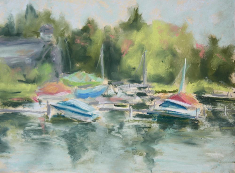 Cazenovia Lake  Pastel on paper, 15x12 framed, plein air. Available
